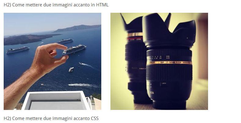 allineare immagini html css