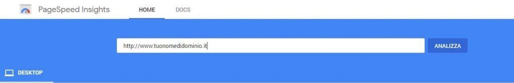 Google test velocità pagine web
