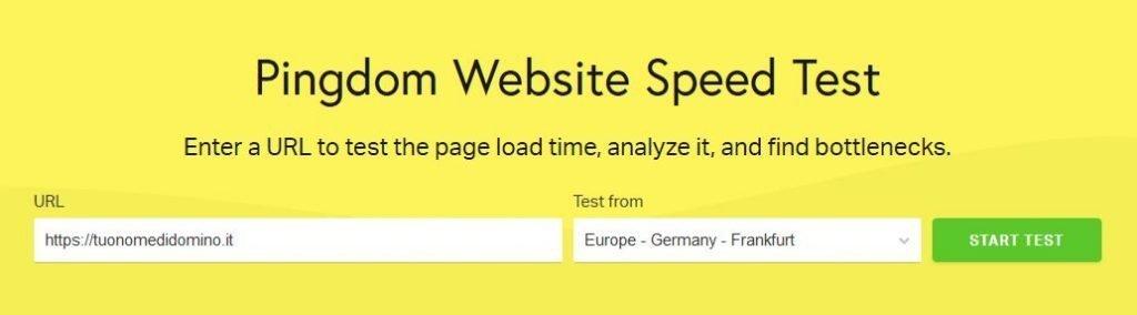 Test di velocità sito web