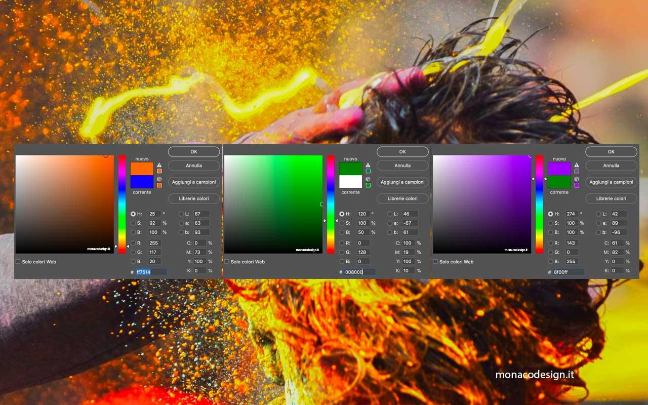 Tavola dei colori primari con codice colore RGB