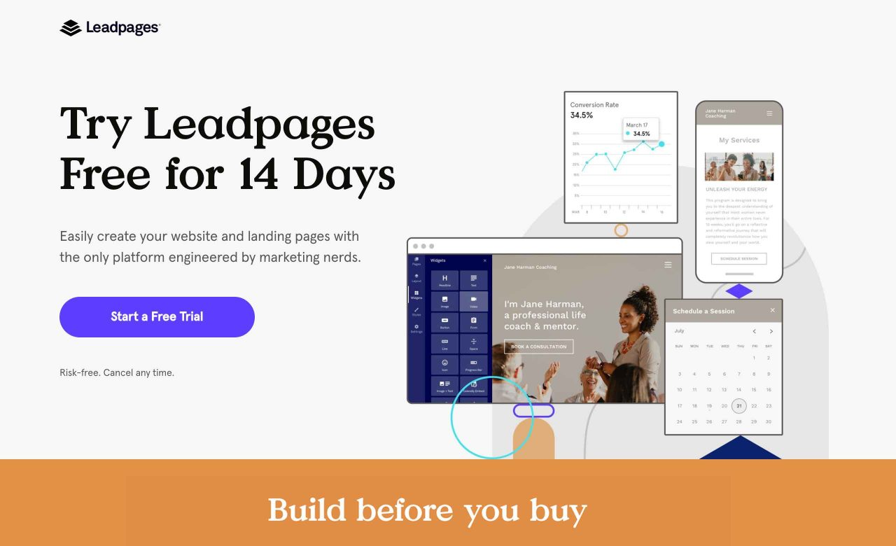Esempio di landing page con Leadpages
