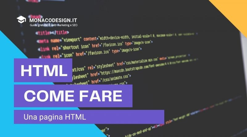Creare una pagina HTML